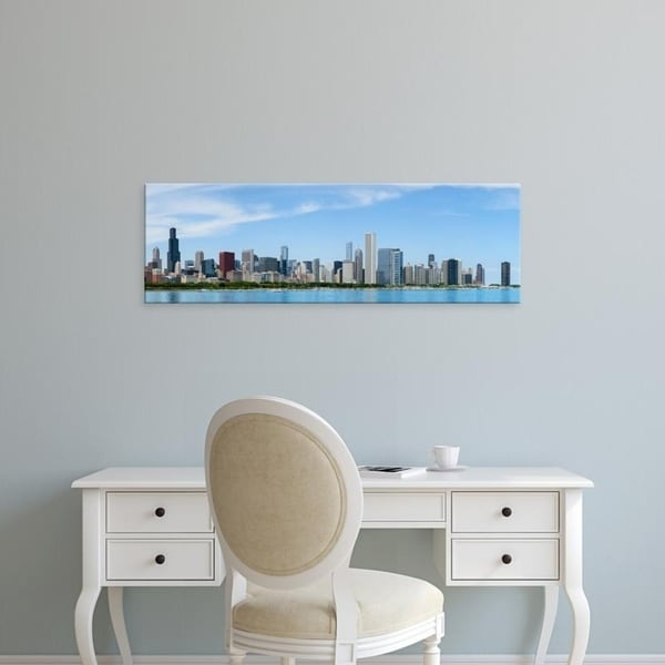 Easy Art Prints Panoramic Images's 'City at the waterfront, Lake Michigan, Chicago, Cook County, Illinois' Premium Canvas Art