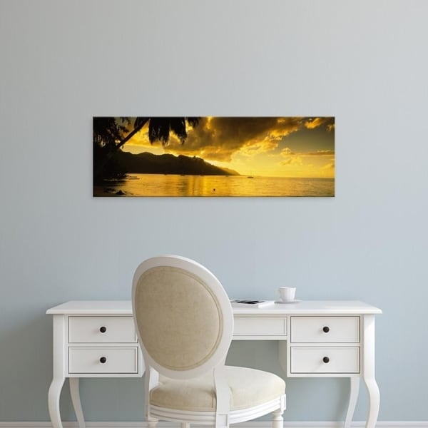 Easy Art Prints Panoramic Images's 'Silhouette Of Palm Trees At Dusk, Cooks Bay, Moorea, French Polynesia' Premium Canvas Art