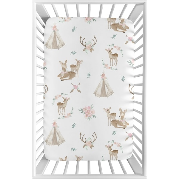 Sweet Jojo Designs Blush Pink, Mint Green and White Boho Woodland Deer Floral Collection Fitted Mini Portable Crib Sheet