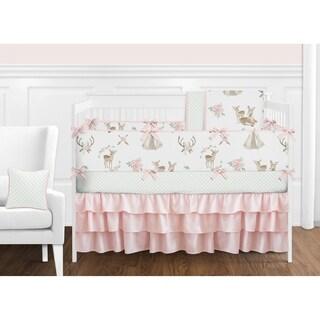 Sweet Jojo Designs Blush Pink Mint White Boho Watercolor Woodland Deer Floral Collection Girl 9-piece Crib Bedding Set