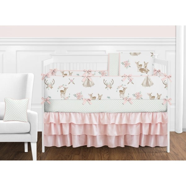Sweet Jojo Designs Blush Pink Mint White Boho Watercolor Woodland Deer Floral Collection Girl 9-piece Crib Bedding Set