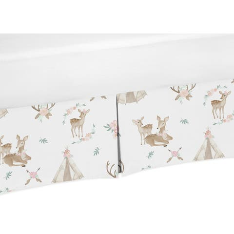 Sweet Jojo Designs Blush Pink, Mint Green and White Boho Woodland Deer Floral Collection Twin Bed Skirt