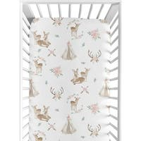 Sweet Jojo Designs Blush Pink, Mint Green and White Boho Woodland Deer Floral Collection Fitted Crib Sheet