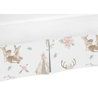 Sweet Jojo Designs Blush Pink, Mint Green and White Boho Woodland Deer Floral Collection Toddler Bed Skirt