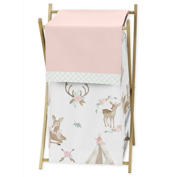 Sweet Jojo Designs Blush Pink, Mint Green and White Boho Woodland Deer Floral Collection Laundry Hamper