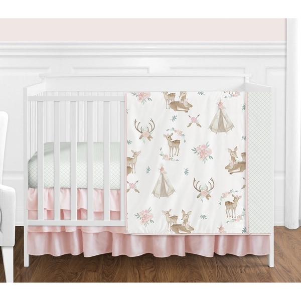 Sweet Jojo Designs Blush Pink Mint White Boho Watercolor Woodland Deer Floral Collection Girl 4-piece Crib Bedding Set