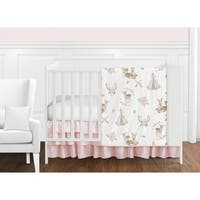 Sweet Jojo Designs Blush Pink Mint White Boho Watercolor Woodland Deer Floral Collection Girl 11-piece Crib Bedding Set