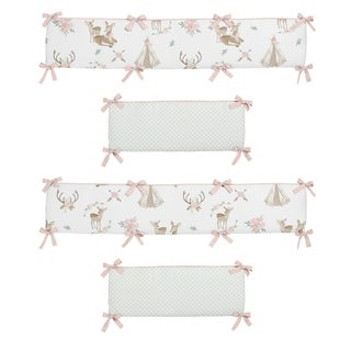 Sweet Jojo Designs Blush Pink, Mint Green and White Boho Watercolor Woodland Deer Floral Collection Baby Crib Bumper Pad