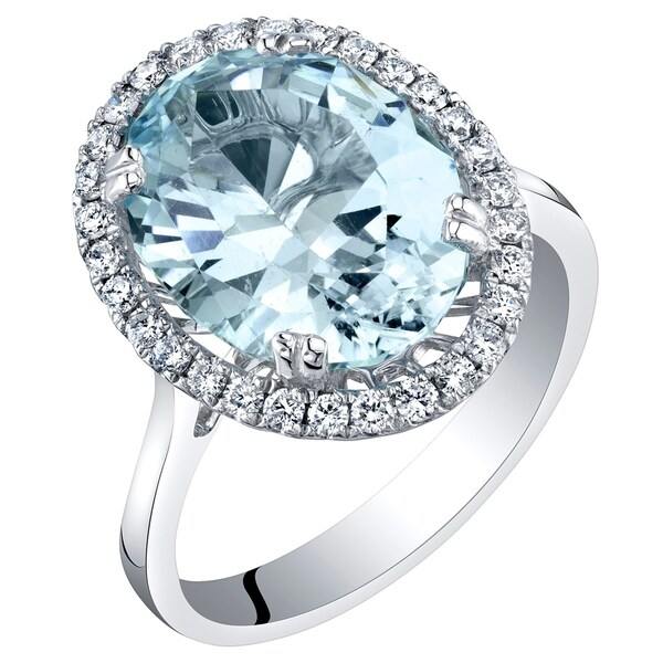 Shop IGI Certified Aquamarine And Diamond 14K White Gold