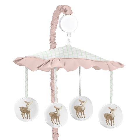 Sweet Jojo Designs Blush Pink, Mint Green and White Boho Woodland Deer Floral Collection Musical Crib Mobile