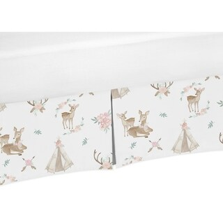 Sweet Jojo Designs Blush Pink, Mint Green and White Boho Woodland Deer Floral Girl Collection Crib Bed Skirt