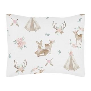 Sweet Jojo Designs Blush Pink, Mint Green and White Boho Woodland Deer Floral Collection Standard Pillow Sham