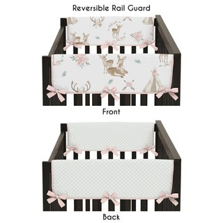 Sweet Jojo Designs Blush Pink Mint White Boho Woodland Deer Floral Collection Side Crib Rail Guard Covers (Set of 2)