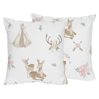 Sweet Jojo Designs Blush Pink Mint Woodland Deer Floral Collection 18-inch Decorative Accent Throw Pillows (Set of 2)