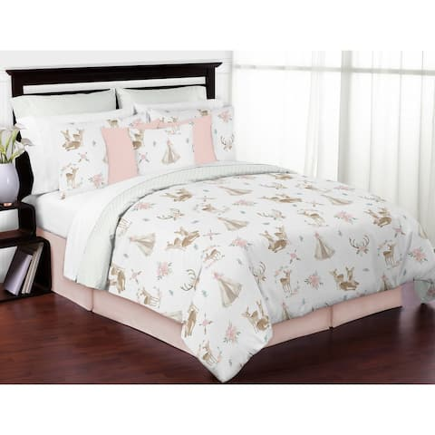 Sweet Jojo Designs Blush Pink Mint Watercolor Woodland Deer Floral Collection Girl 3 piece Full Queen-size Comforter Set