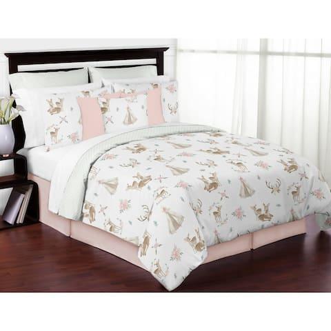 Sweet Jojo Designs Blush Pink Mint Watercolor Woodland Deer Floral Collection Girl 3 piece Full Queen-size Comforter Set