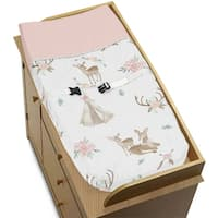 Sweet Jojo Designs Blush Pink, Mint Green and White Boho Woodland Deer Floral Collection Changing Pad Cover