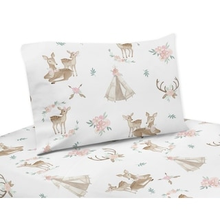 Sweet Jojo Designs Blush Pink, Mint Green and White Boho Woodland Deer Floral Collection 4-piece Queen Sheet Set