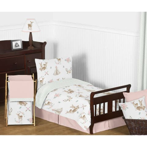 Sweet Jojo Designs Blush Pink Mint Watercolor Woodland Deer Floral Collection Girl 5-piece Toddler-size Comforter Set