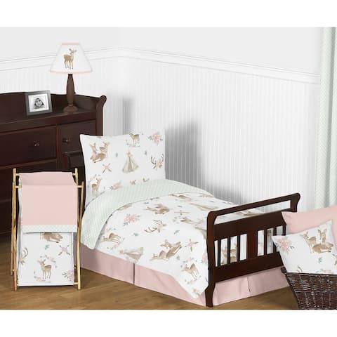 Sweet Jojo Designs Blush Pink Mint Watercolor Woodland Deer Floral Collection Girl 5-piece Toddler-size Comforter Set