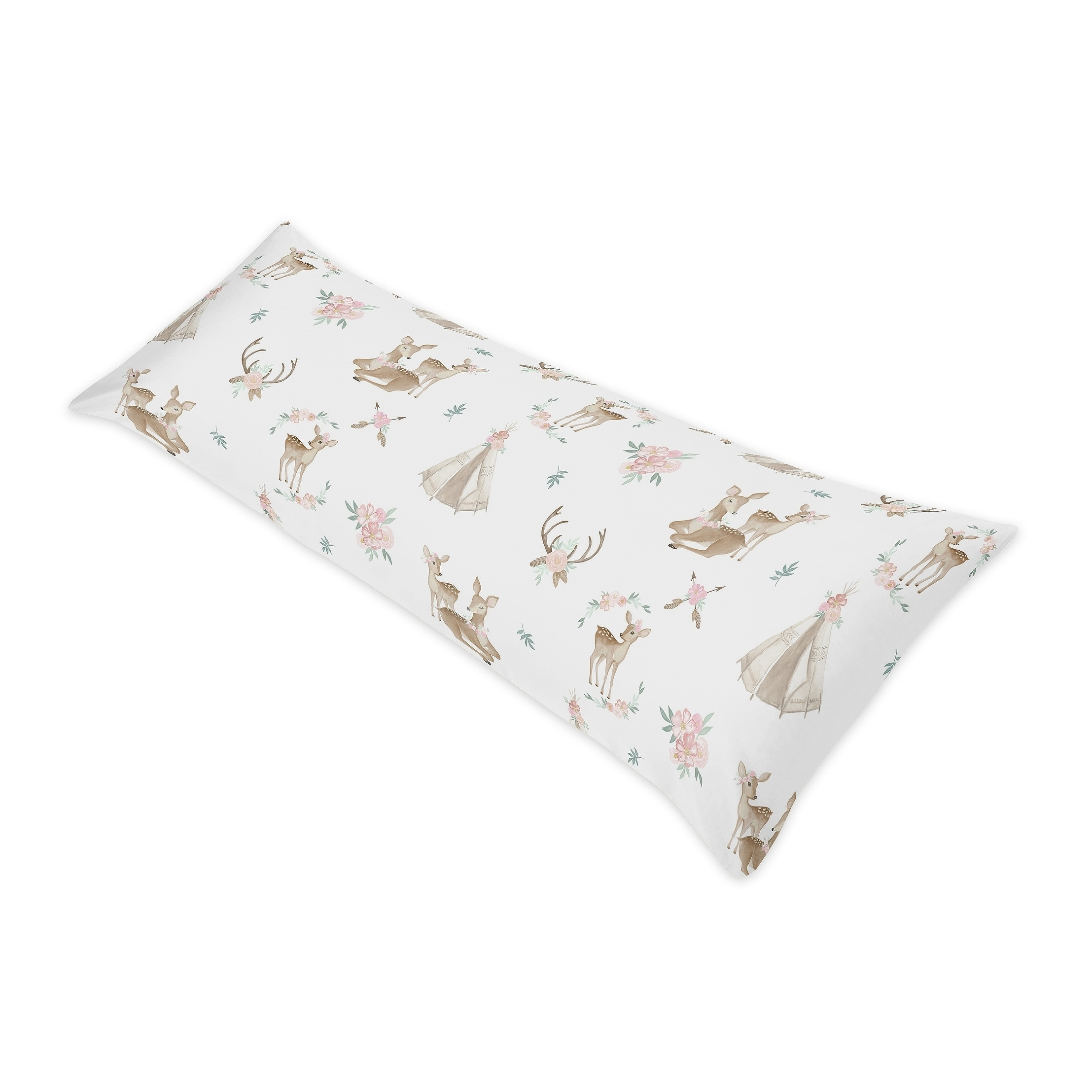 Sweet Jojo Designs Blush Pink Mint Woodland Deer Floral Collection 18 Inch Decorative Accent Throw Pillows Set Of 2