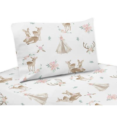 Sweet Jojo Designs Blush Pink, Mint Green and White Boho Woodland Deer Floral Collection 3-piece Twin Sheet Set