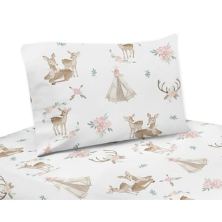 Link to Sweet Jojo Designs Blush Pink, Mint Green and White Boho Woodland Deer Floral Collection 3-piece Twin Sheet Set Similar Items in Kids Sheets & Pillowcases
