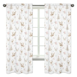 Sweet Jojo Designs Blush Pink Mint White Boho Woodland Deer Floral Collection 84inch Window Treatment Curtain Panel Pair