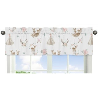 Sweet Jojo Designs Blush Pink, Mint Green and White Boho Woodland Deer Floral Collection Window Curtain Valance