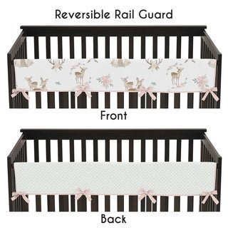 Sweet Jojo Designs Blush Pink, Mint Green and White Boho Woodland Deer Floral Collection Long Crib Rail Guard Cover