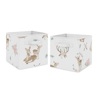 Sweet Jojo Designs Blush Pink, Mint Green and White Boho Woodland Deer Floral Collection Storage Bins