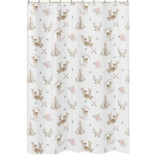 Sweet Jojo Designs Blush Pink Mint Green White Boho Woodland Deer Floral Collection Bathroom Fabric Bath Shower Curtain