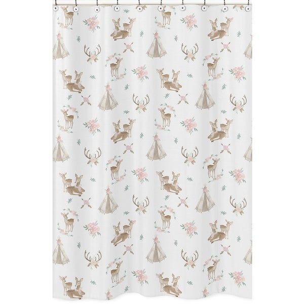 Sweet Jojo Designs Blush Pink Mint Green White Boho Woodland Deer Floral Collection Bathroom Fabric Bath Shower Curtain