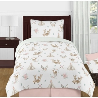 Sweet Jojo Designs Blush Pink Mint Boho Watercolor Woodland Deer Floral Collection Girl 4-piece Twin-size Comforter Set
