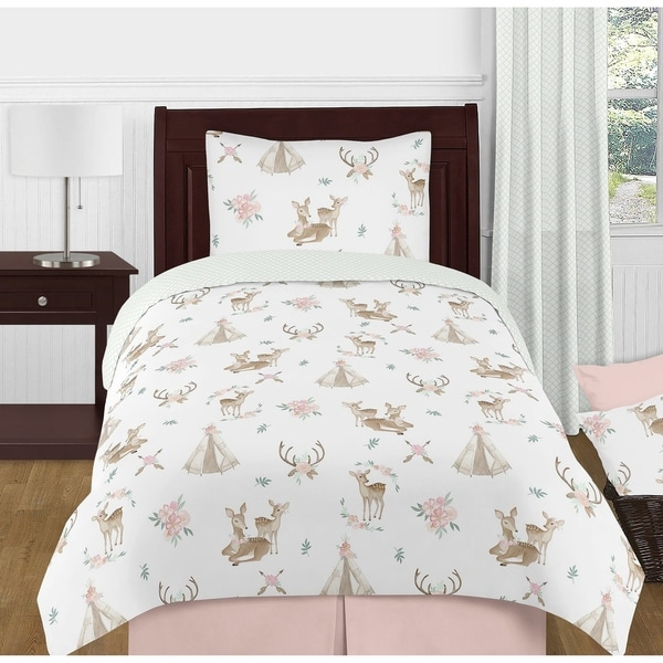 Sweet Jojo Designs Blush Pink Mint Boho Watercolor Woodland Deer Floral Collection Girl 4-piece Twin-size Comforter Set. Opens flyout.