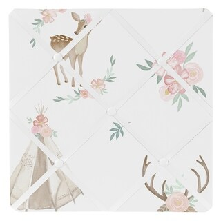 Sweet Jojo Designs Blush Pink Mint White Boho Woodland Deer Floral Collection 13-inch Fabric Memory Photo Bulletin Board