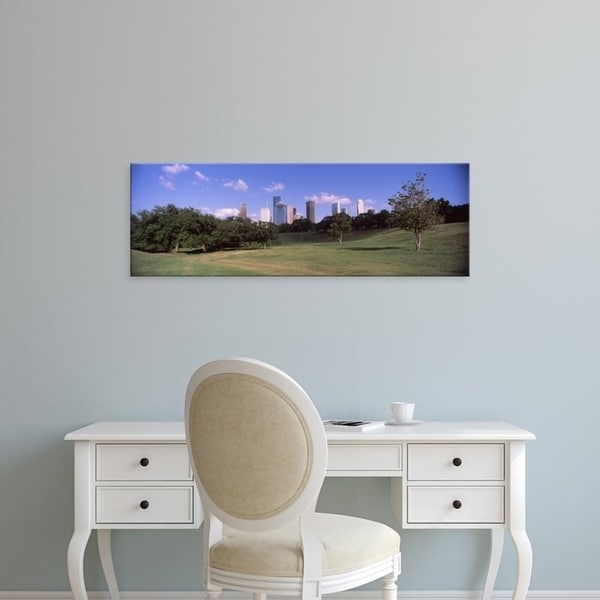 Easy Art Prints Panoramic Images's 'Downtown skylines viewed from a park, Houston, Texas, USA' Premium Canvas Art