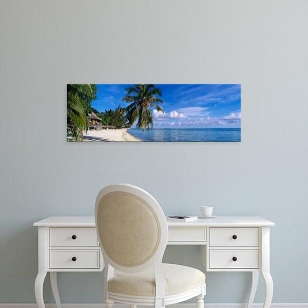 Easy Art Prints Panoramic Images's 'Tourist Resort On The Beach, Matira Beach, Bora Bora, French Polynesia' Premium Canvas Art