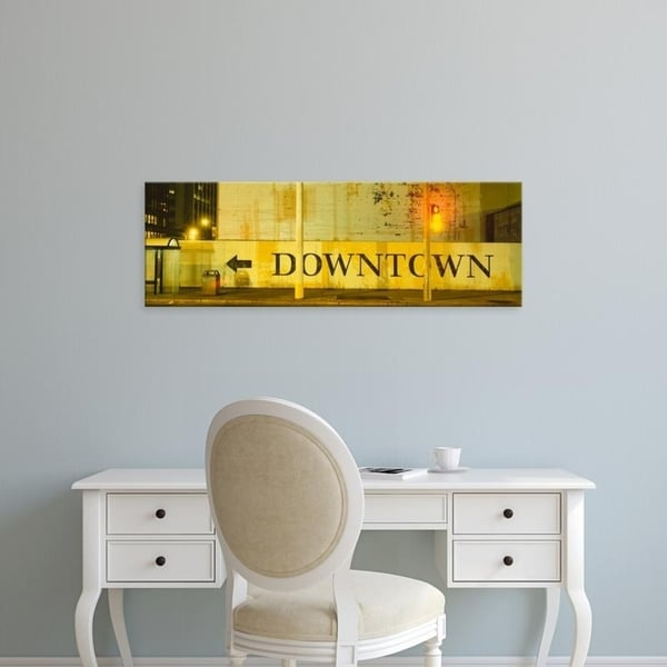 Easy Art Prints Panoramic Images's 'Downtown Sign Printed On A Wall, San Francisco, California, USA' Premium Canvas Art