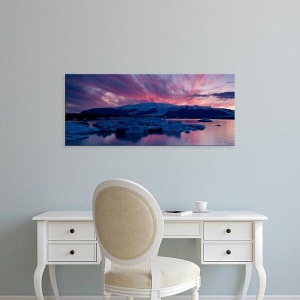Easy Art Prints Panoramic Images's 'Icebergs in a glacial lake, Jokulsarlon Lagoon, Iceland' Premium Canvas Art