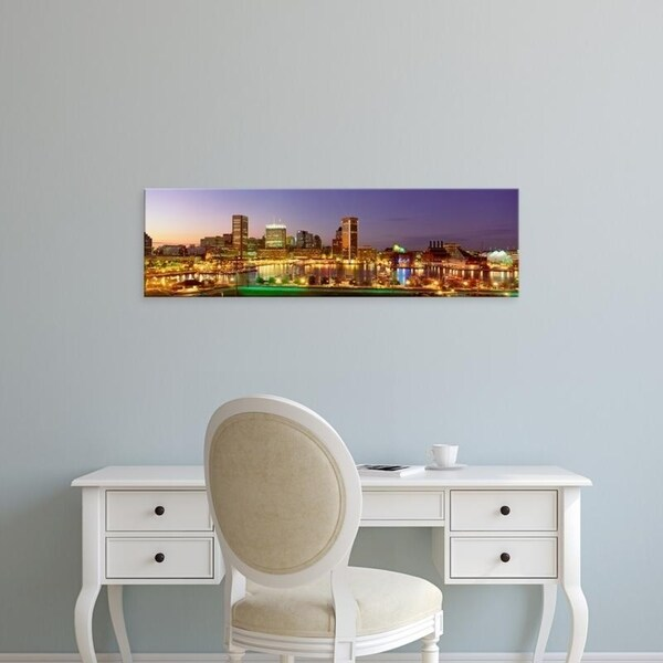Easy Art Prints Panoramic Images's 'USA, Maryland, Baltimore, City at night viewed from Federal Hill Park' Premium Canvas Art