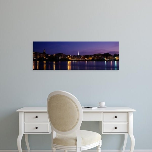 Easy Art Prints Panoramic Images's 'Reflection of buildings on water, Portsmouth, New Hampshire, USA' Premium Canvas Art