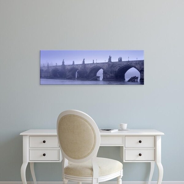 Easy Art Prints Panoramic Images's 'Bridge over a river, Charles Bridge, Prague, Czech Republic' Premium Canvas Art