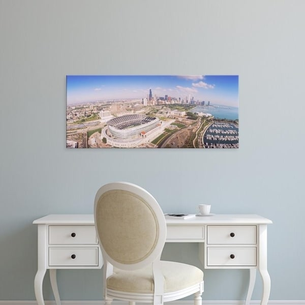 Easy Art Prints Panoramic Images's 'Aerial view of a stadium, Soldier Field, Chicago, Illinois, USA' Premium Canvas Art