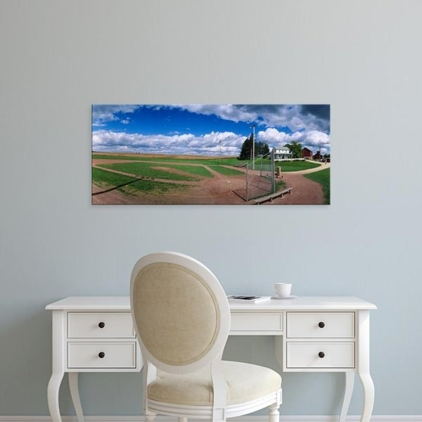 Easy Art Prints Panoramic Images's 'Clouds over a baseball field, Field of Dreams, Dyersville, Iowa, USA' Premium Canvas Art