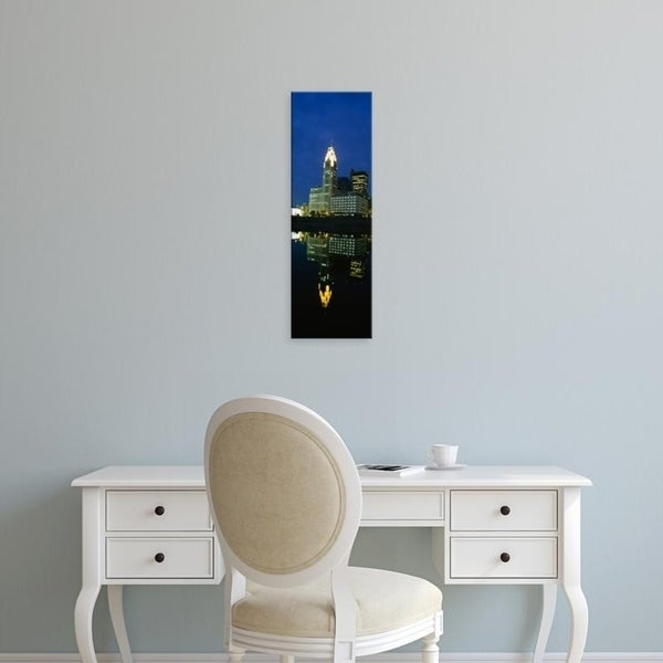 Easy Art Prints Panoramic Images's 'Buildings in a city lit up at night, Scioto River, Columbus, Ohio, USA' Premium Canvas Art