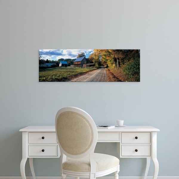 Easy Art Prints Panoramic Images's 'Country road along a farm, Vermont, New England, USA' Premium Canvas Art
