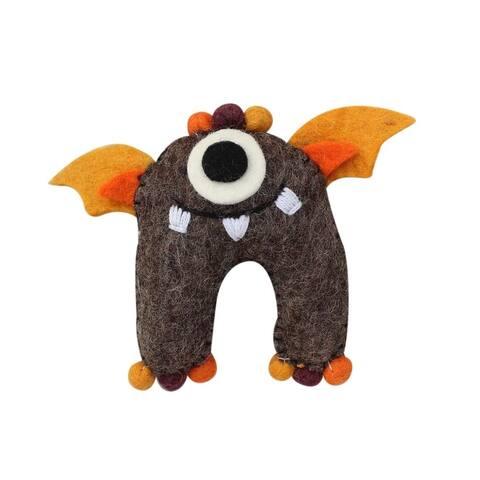 Handmade Felt Earth Tooth Monster (Nepal) - Orange