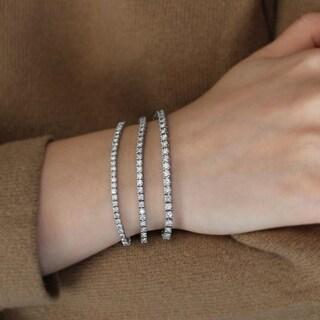 TwoBirch Diamond Tennis Bracelet - 14k White Gold Line Bracelet (2 1/2, 3 or 4 Carats)