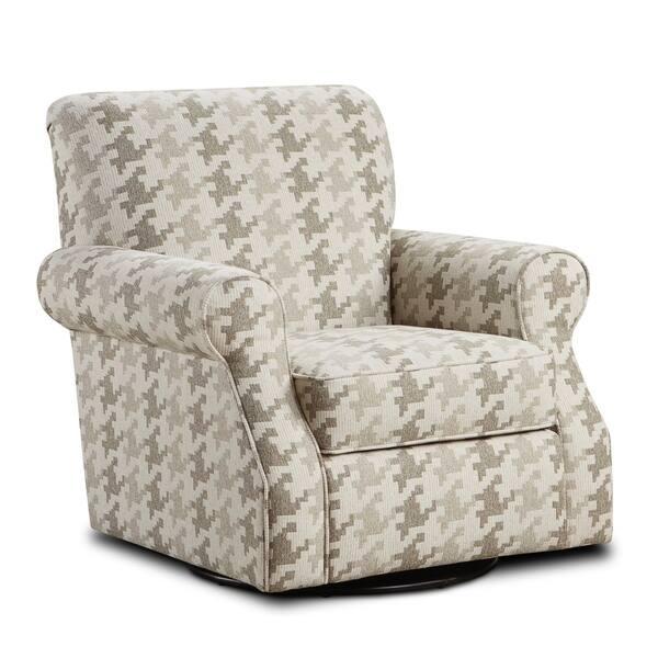 Blass Berber Fabric Beige Upholstered Swivel Chair